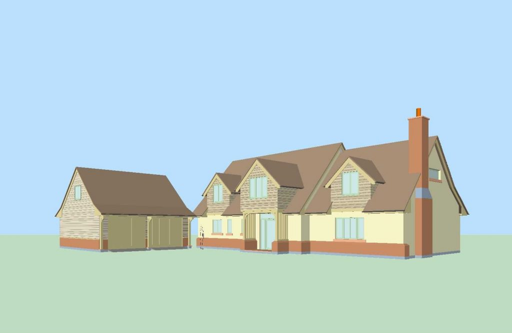 New house in Little Budworth with oak frame. Architects image of a house with traditional dormers and detached garage