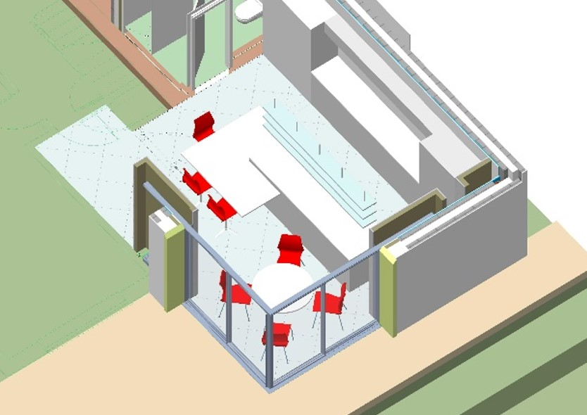 Aerial cutaway view of kitchen extension. Shows Sky Frame sliding glass door