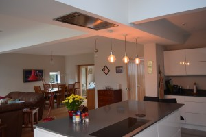 Architectural design Adlington near Macclesfield. Afte showing foregrround kitchen and study beyond